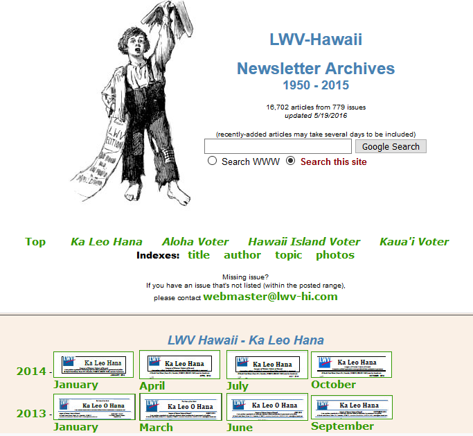 League of Women Voters of Hawaii Newsletter Archive